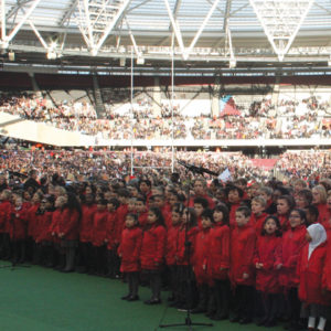 Pupils from schools across London kick off Four Nations rugby match with song