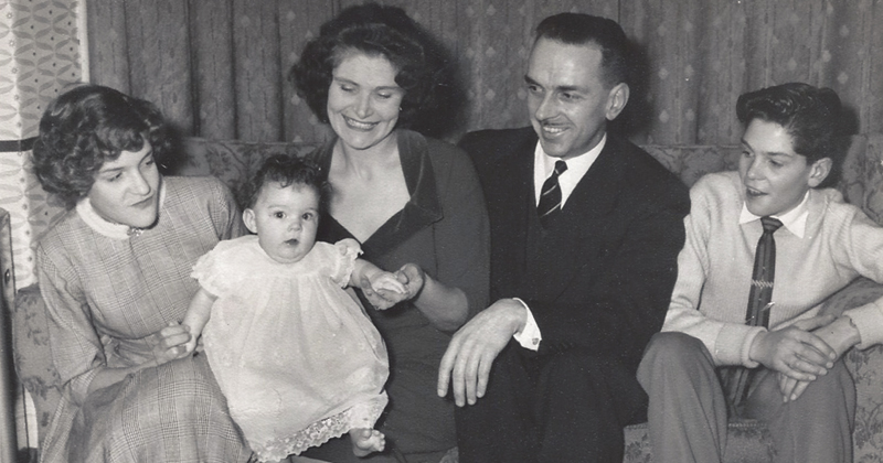 Haynes (centre) in 1960 with her parents. sister Katrina and brother Michael
