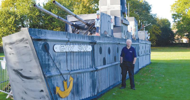 Enthusiastic groundsman builds replica Nazi battleship for school bonfire