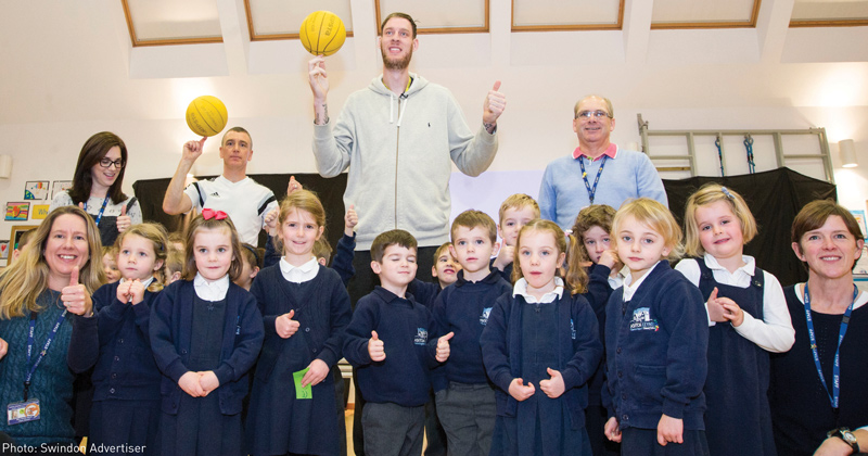Britain's tallest man teaches primary school pupils how to embrace their differences