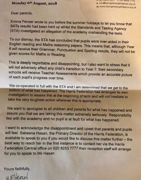Revealed: Harris school praised by ministers 'overaided' pupils in SATs